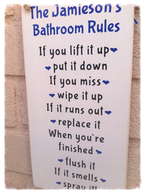 Personalised Family Bathroom Rules Plaque